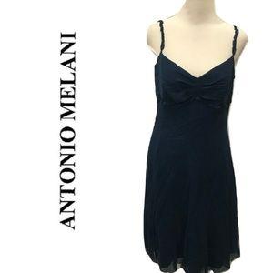 Antonio Melani Size 10 Silk Dress Blue Cocktail